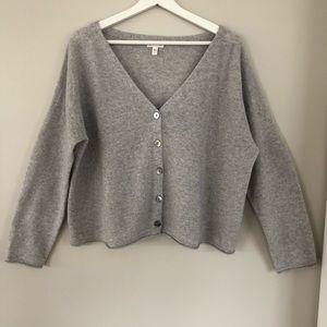 NWOT Garnet Hill boxy cashmere cardigan sweater L